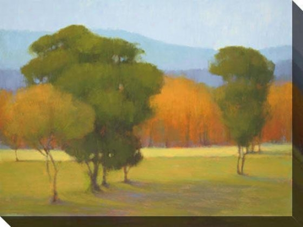 """oak With Orange Trees Canvas Wall Art - 48""""hx36""""w, Green"""