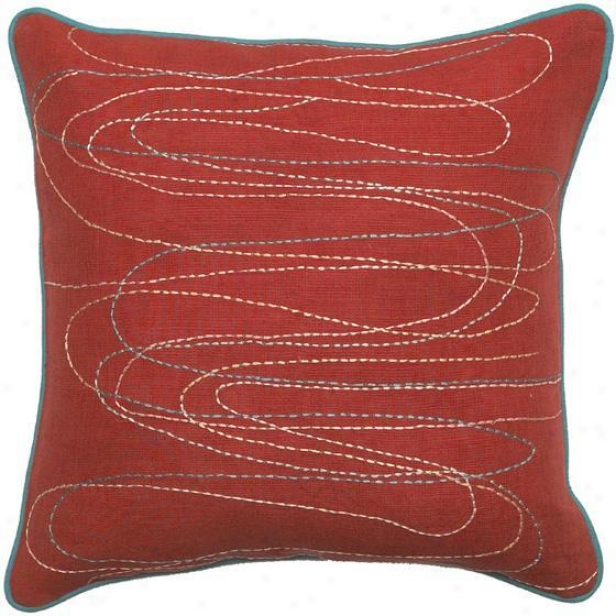 """odyssey Pillows - Set Of 2 - 18""""x18"""", Red"""