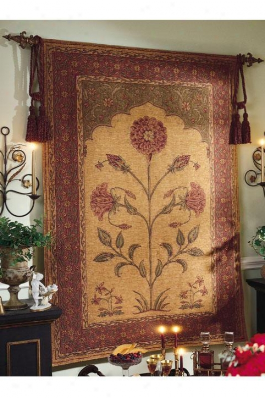 """Thoughtful World Flower Tapestry - 55""""hx76""""w, Multi"""