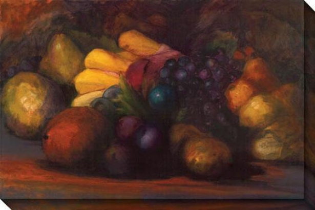 """old World Still Life With Bananas Canvas Wall Art - 48""""hx32""""w, Black"""