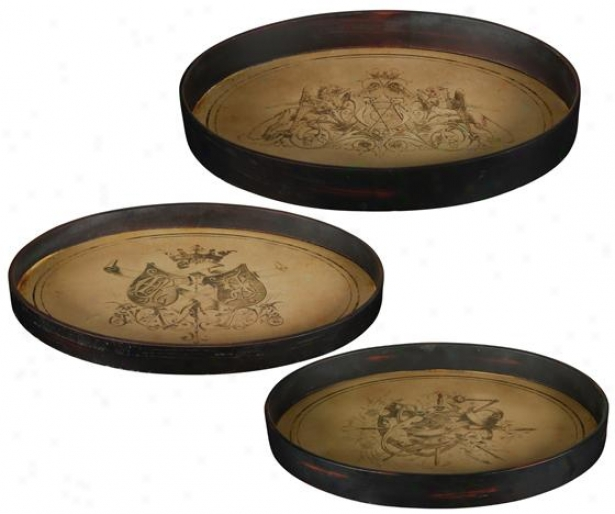 Old World Tray - Set Of 3 - Set Of Three, Tan
