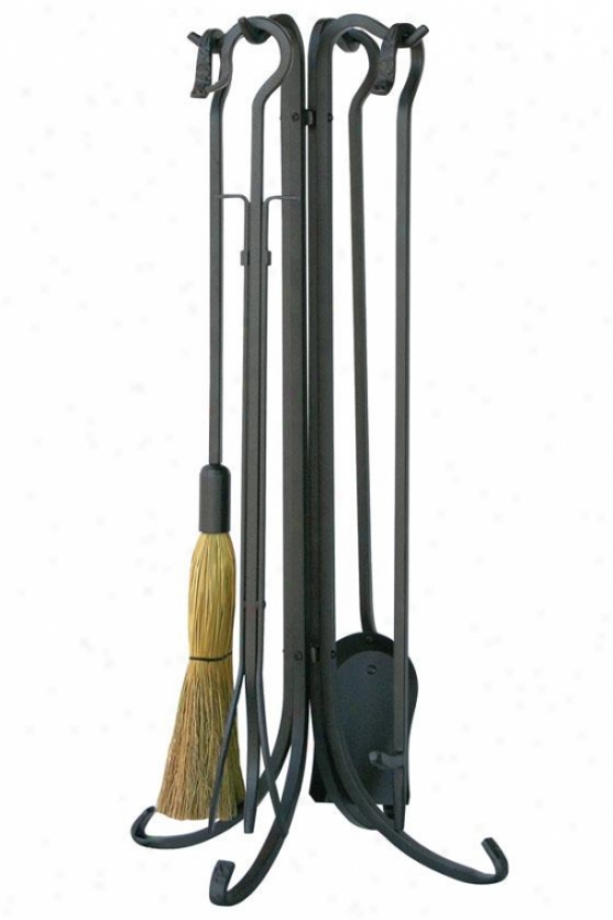 """""""olde World Fireplace Tool Set - 33""""""""hx9""""""""wx9""""""""d, Charcoal Gray-haired"""""""