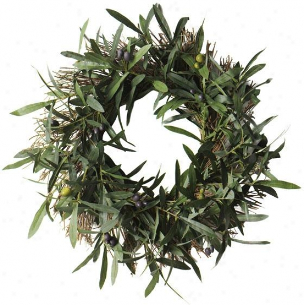 """olive Bush Variety - 18""""rd Wreath, Green"""