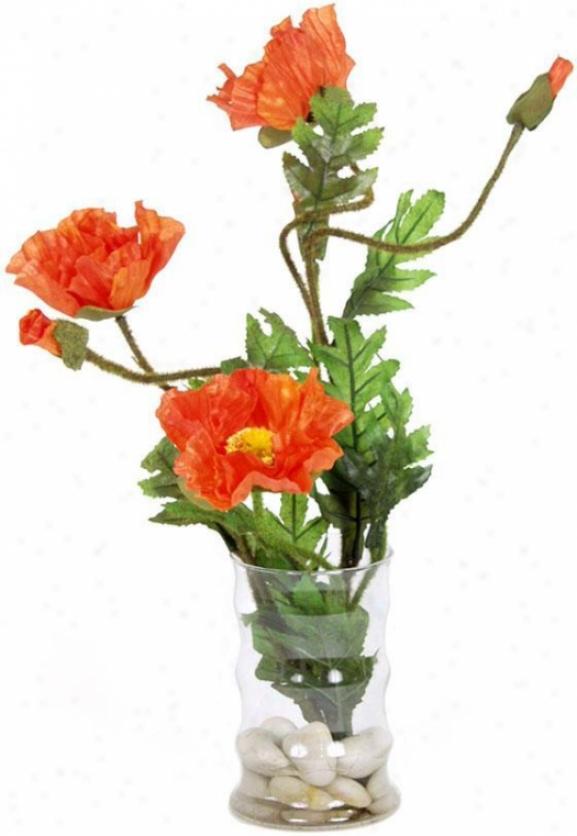 """""""orange Poppy Floral Arrangement - 16""""""""hx10""""""""d, Green"""""""