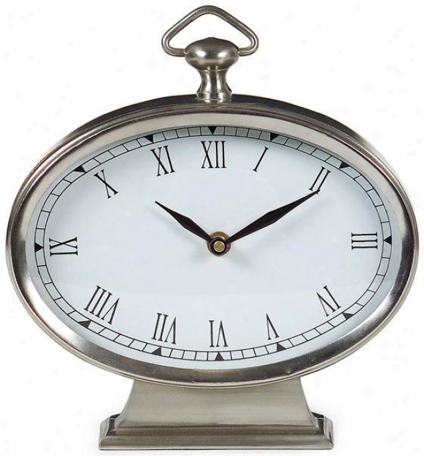 """oval Desk Clock - Pewter - 9""""h X 7.5""""w, Gray"""