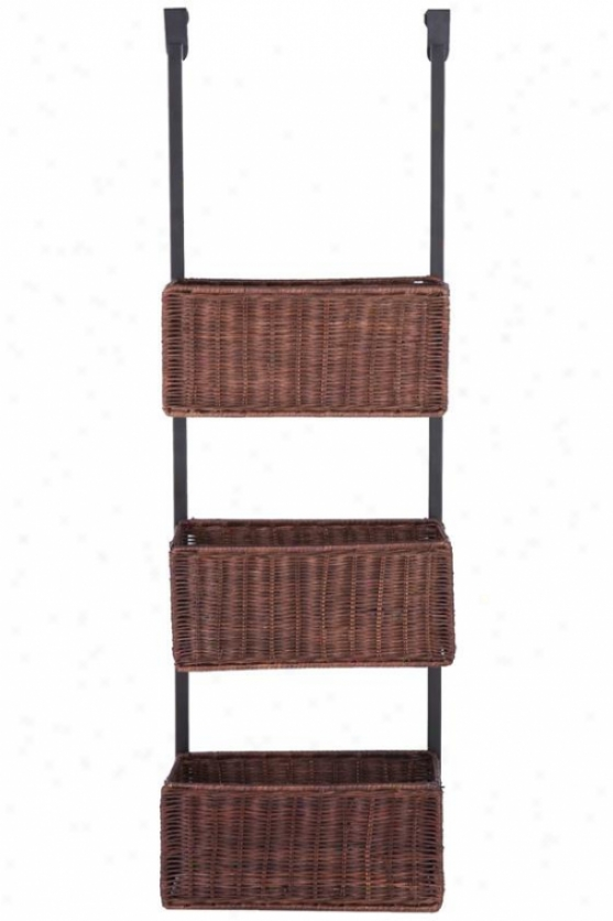 """over-the-door 3-tier Basket Storage - 38h X 12w X 6""""d, Brown"""