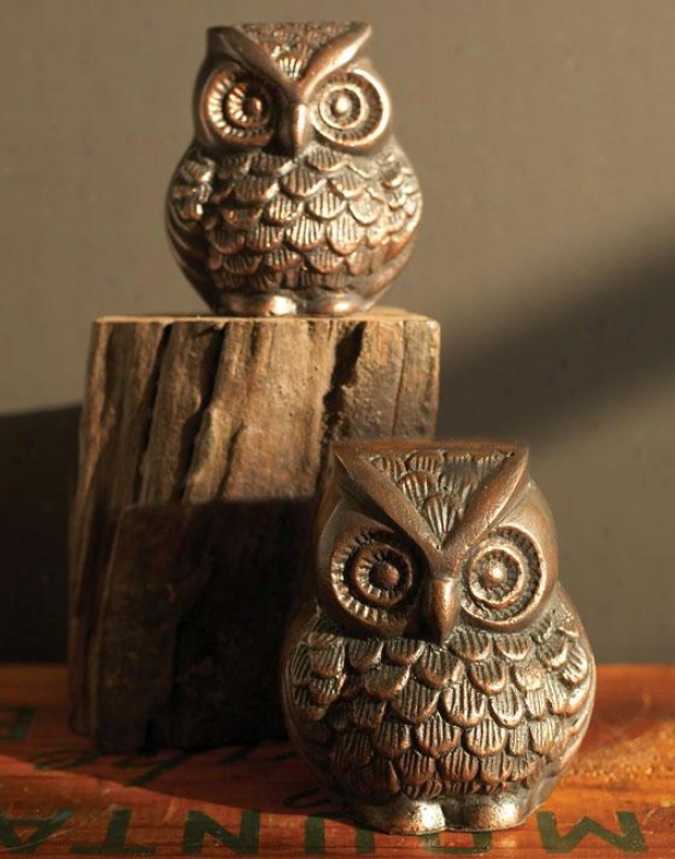 Owl Paperweights - Set Of 2 - Set Of Two, Brown