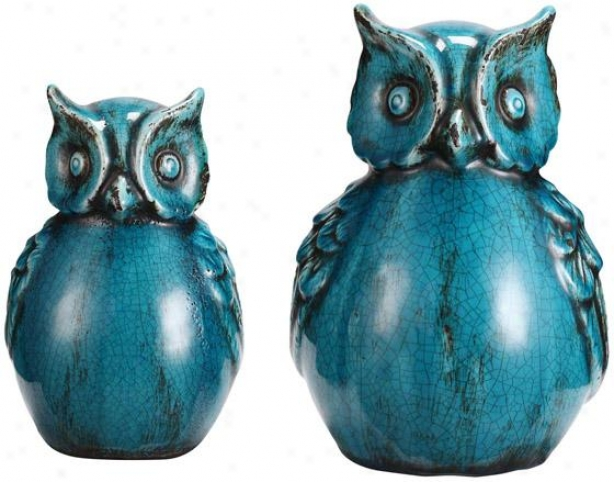 Owls - Set Of 2 - Set Of 2, Cyan Blue