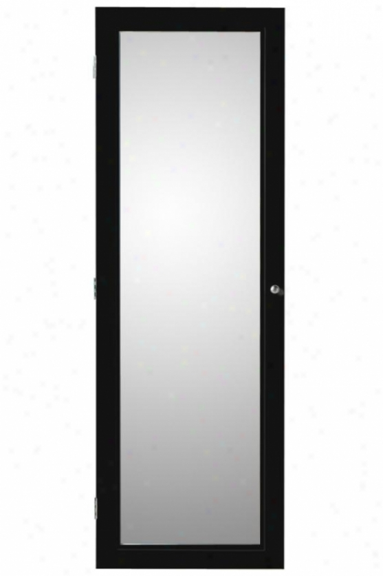 """""""oxford Wall Embellish Jewelry Armoire With Mirror - 60hx20wx4d"""""""", Black"""""""