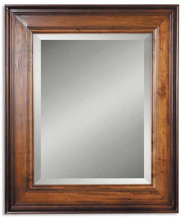 Palmer Light Wall Mirror - 38hx32wx3d, Woodtone