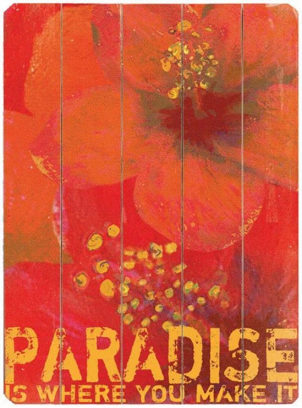 """""""paradise  Wooden Sign - 20""""""""hx14""""""""w, Red"""""""