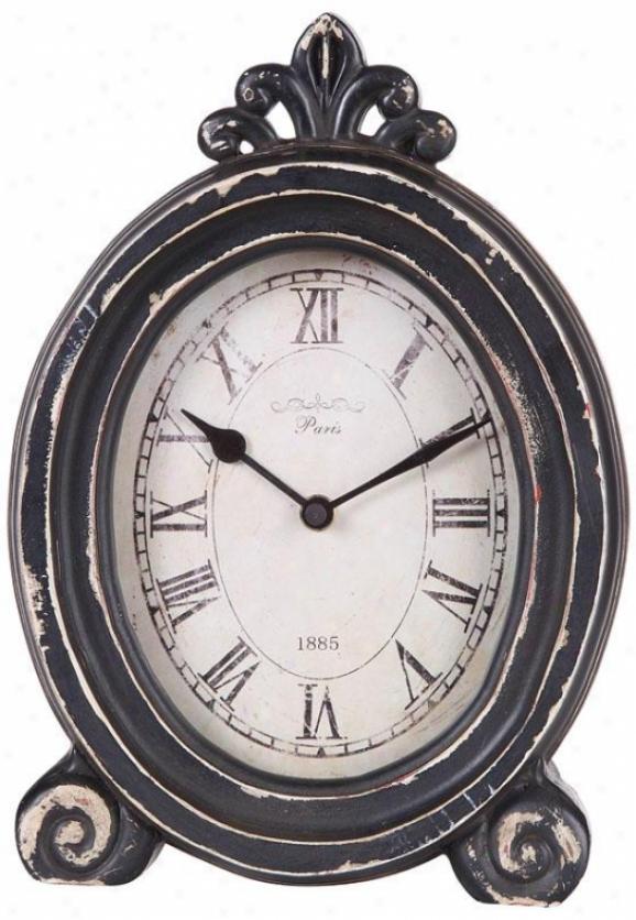 """paris 1885 Distressed Desk Clock - 7.87x2.37x11""""h, Black"""