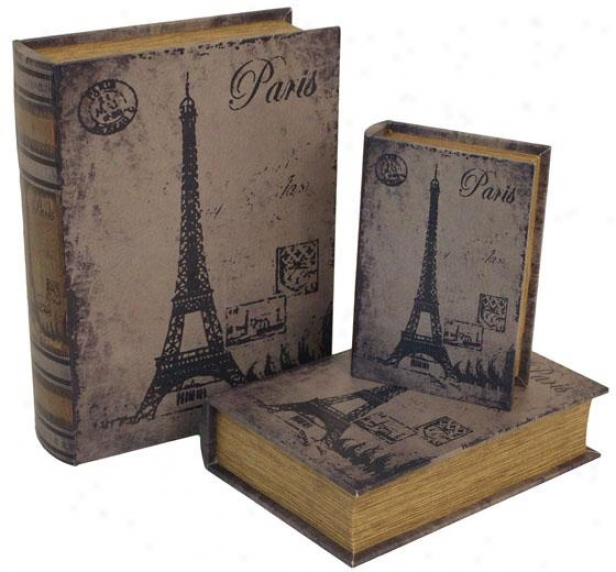 Paris Book Boxes - Set Of 3 - Set Of Three, Distressed