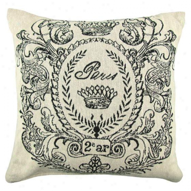 """paris Postage Deecorative Pillow - 18h X 18""""w, Ivory"""
