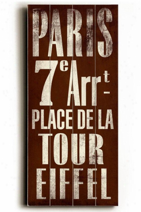 """paris Transit Sign Wall Plaque - 24h X 10""""w, Brown"""
