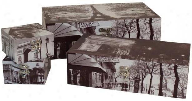 Paris Wood Boxes - Set Of 4 - Set Of Four, Black And White