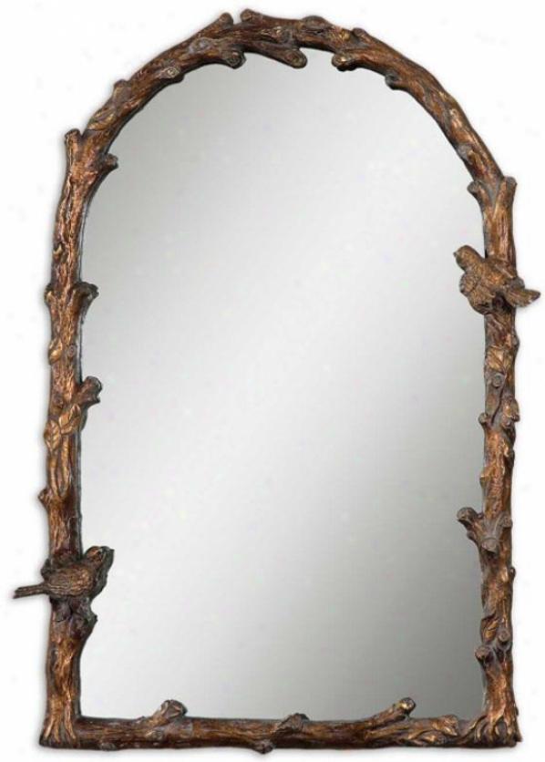 Paza Oval Mirror - Oval 34hx22w, Gold