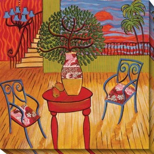 Peaceful Retreat Iii Canvas Wall Art - Iii, Red