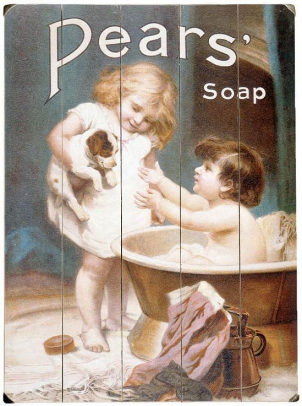 """pears Soap Childrens Puppy Wooden Sign - 20""""hx14""""w, Blue"""