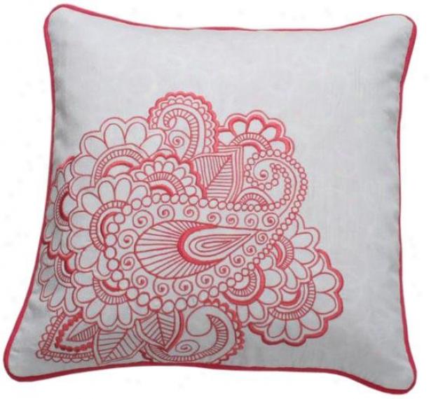 """peony Decorative Pillow - 18"""" Square, White"""