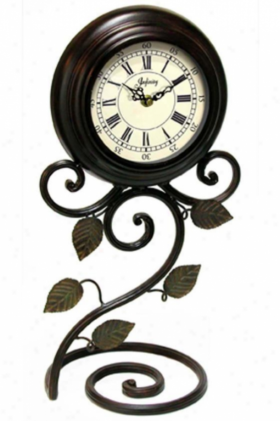 """perennial Iron Table-top Clock - 17.5""""hx9.25""""w, Brown"""