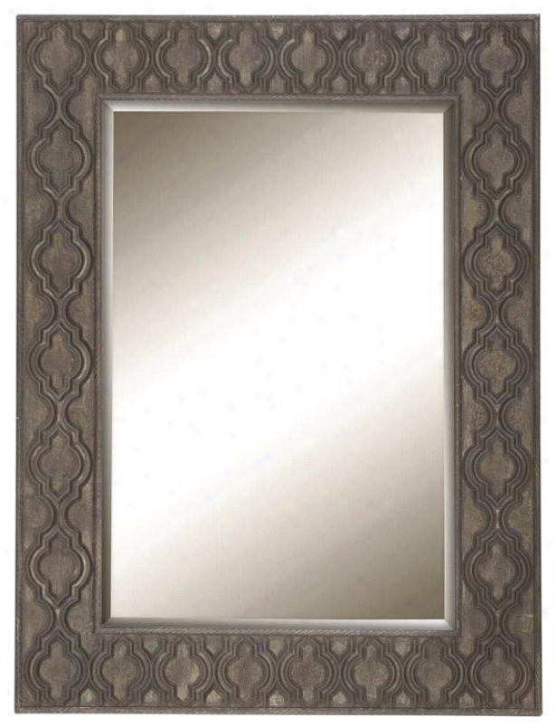 Peri Rectangle Wall Mirror - 40h X 30w, Natural Wood