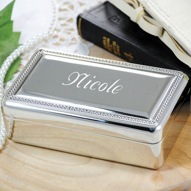 Personalized Beaded Silver Jewelry Box - 5hx3wx2d, Silver