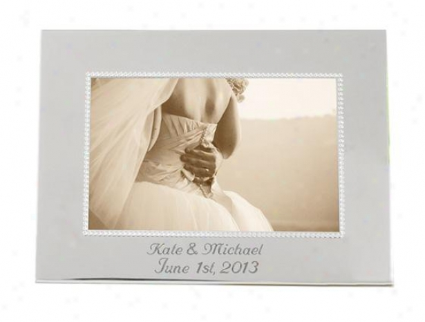 Personalized Beaded Silver Picture Frame - Verticcal, Silver