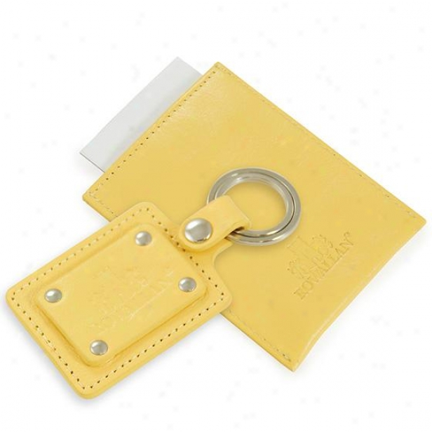Personalized Curacao Leather Clew Tag And Business Card Set - 3hx2w, Cornsilk Yellow