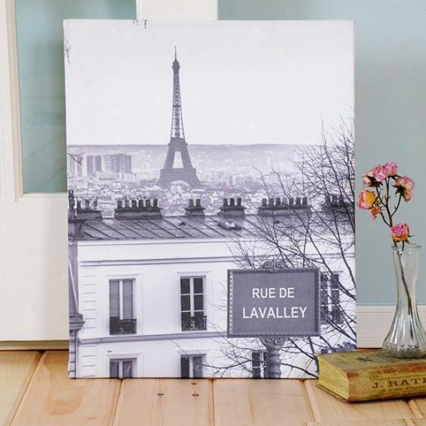 Personalized Love In Paris Canvas - 20hx16w, Gray