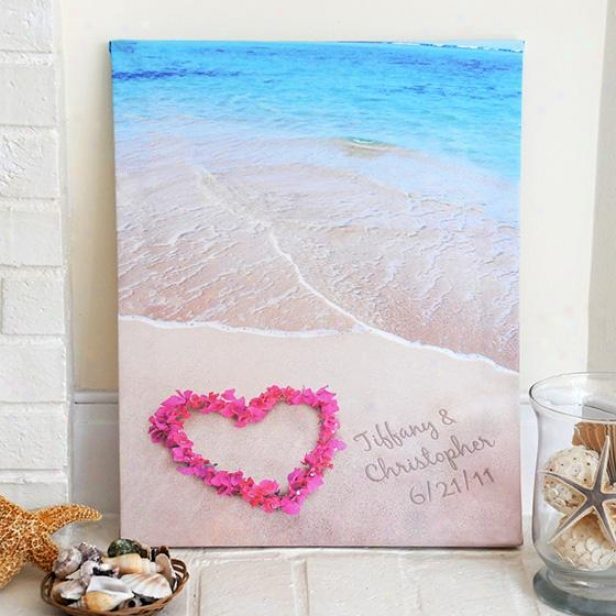 Personalized Ocean Waves Of Love Canvas - 20hx17w, Multi