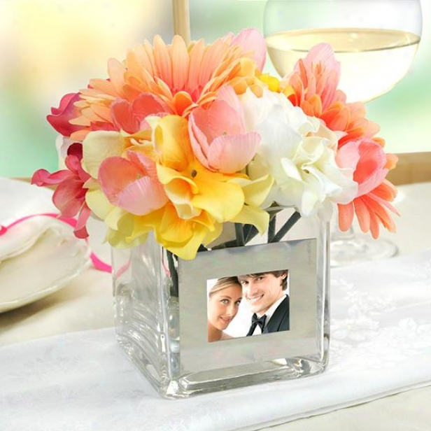 Personalized Square Glass Vase With Phot oFtame - 4hx4wx4d, Glass