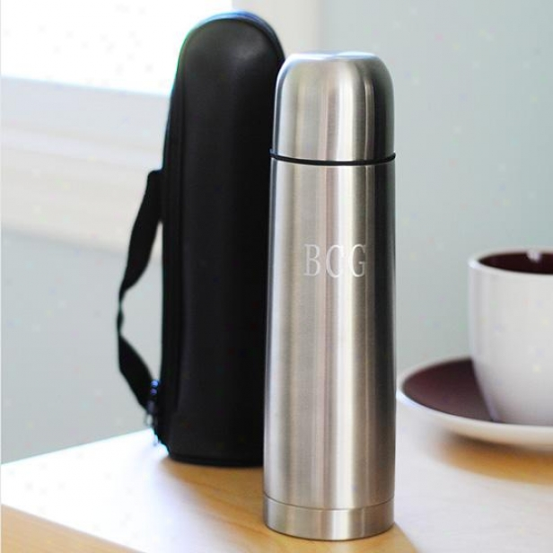 Peronalized Stainless Steel Thermos With Carrying Case - 9hx2w, Silver