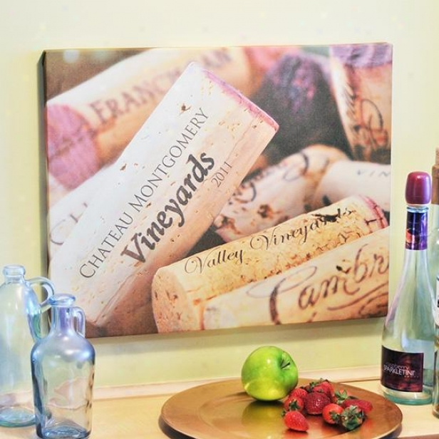Personalized Wine Lovers Canvas - 20hx16w, Tan