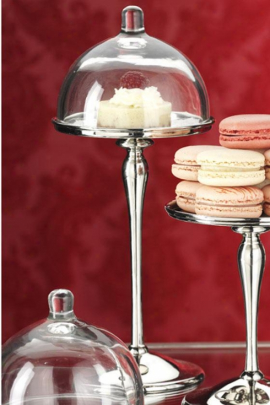 Petit Four Cake Stand - Tall: 11h X 6rd, Silver