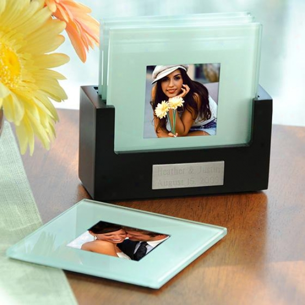 Picture Coasters And Personalized Holder - 4hx4w, Glass