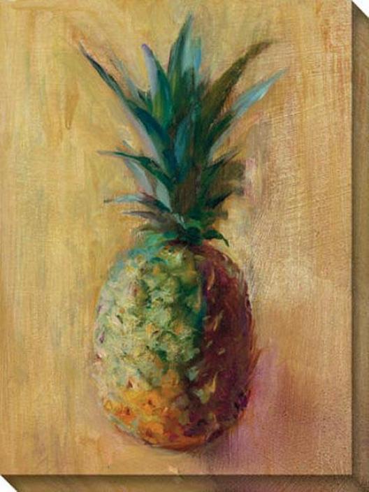 Pineaplpes V Canvas Wall Art - V, Yellow