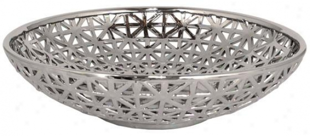 """plated Ceramic Pierced Bowl - 4.5h X 18.5""""rd, Silver"""