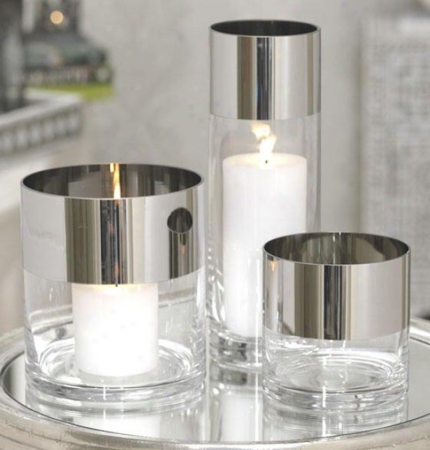 Platinum Band Clear Glass Candleholder - Medium, Clear