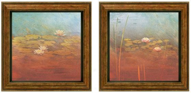 Pond Lilies Framed Wall Art - Set Of 2 - Value Of Two, Blue