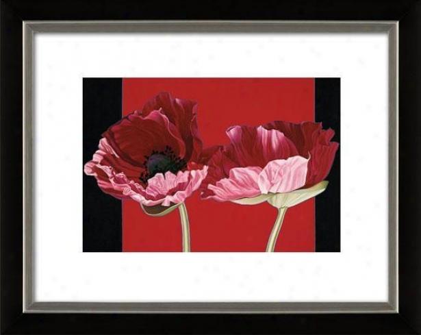 """""""poppies Framed Wall Art - 27""""""""hx33""""""""w, Mttx Black/slvr"""""""