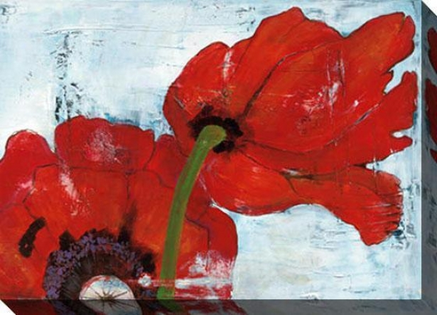 Poppies Steady Blue Iii Canvas Wall Art - Iii, Red