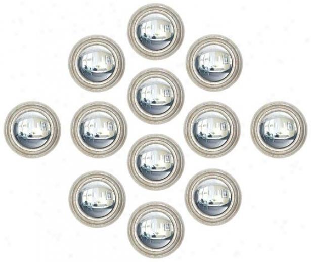 """portia Wall Mieror - Set Of 12 - S/12 8""""d, Silver"""