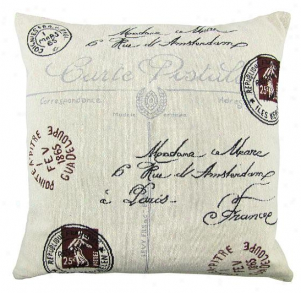 """postale Tapestry Decorative Pillow - 18h X 18""""w, Ivory"""