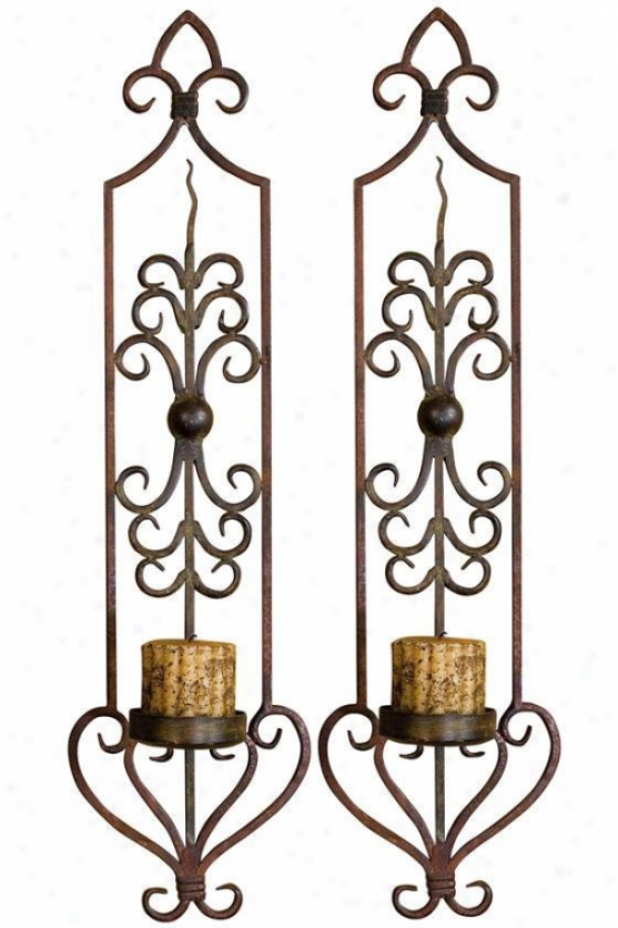 """privas Wall Sconces - Set Of 2 - 30""""hx8""""w, Mhgyrst/olvbrnz"""