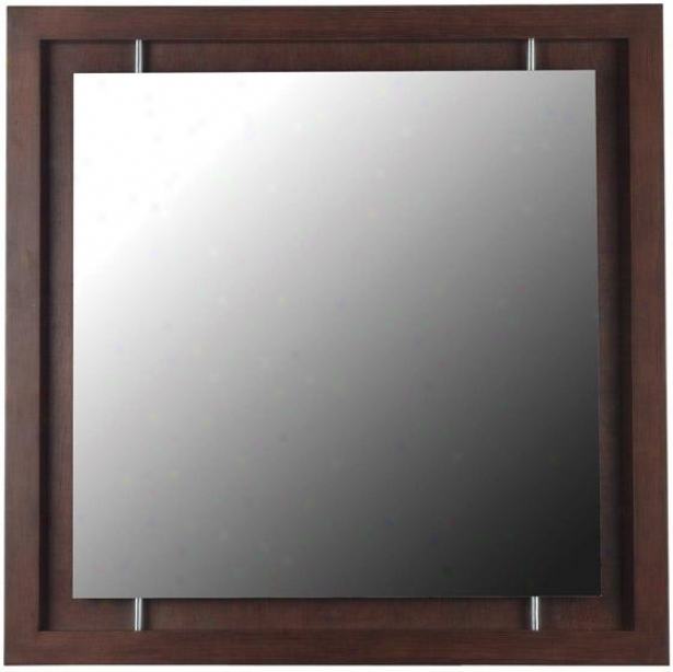 """protrero Wall Mirror - 34"""" Square, Maroon"""