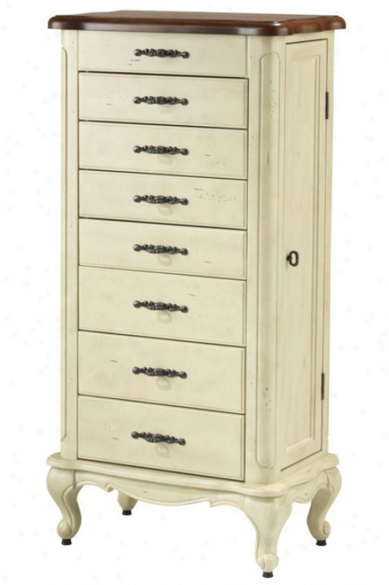 """provence Jewelry Armoire - 4Ohx20wx12d"""", Cream W/chestnut Top"""