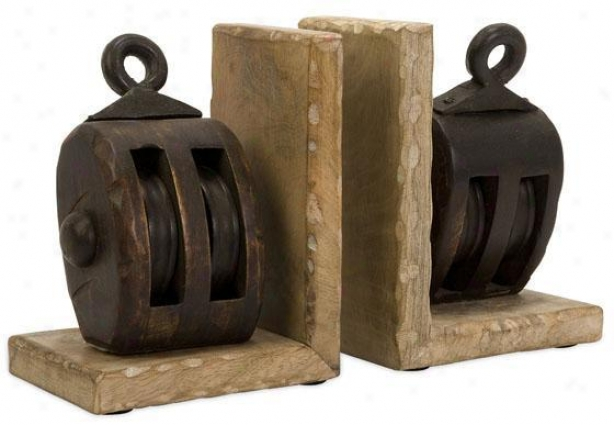 Pulley Bookends- Set Of 2 - Set Of 2, Br0wn
