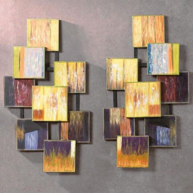 """quadratic Wall Sculptyre - Set Of 2 - 9.25""""wx34.5""""h, Yellow"""