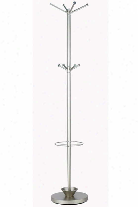 """quatro Umbrella Stand And Coat Rack - 70""""hx13""""d, Chammpagne Steel"""